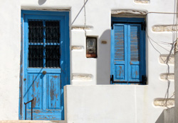 greece santorini blue doors shutters